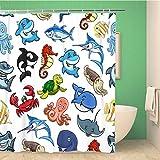 Awowee Decor - Cortina de Ducha (180 x 180 cm, poliéster), diseño de Animales Marinos y Peces de Ballena, Tela de poliéster Impermeable con Ganchos para baño