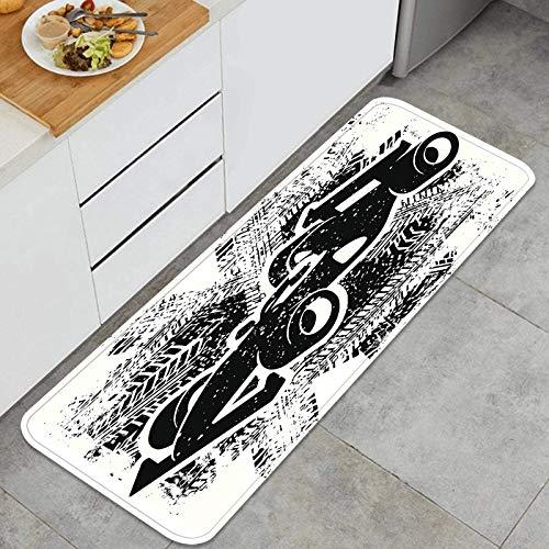 Cocina Antideslizante Alfombras de pie Coche de Carreras de Grunge Decoración de Piso Confortables para el hogar, Fregadero, lavandería-120cm x 45cm