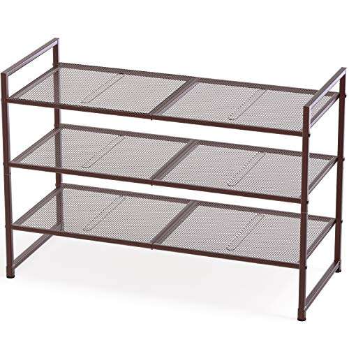 Simple Houseware 3-Tier Stackable Shoes Rack Storage Organizer Shelf Bronze