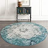 Loartee Vintage Bohemian Runde Teppich für Wohnzimmer Esszimmer, grün, Round 4 ft /120cm