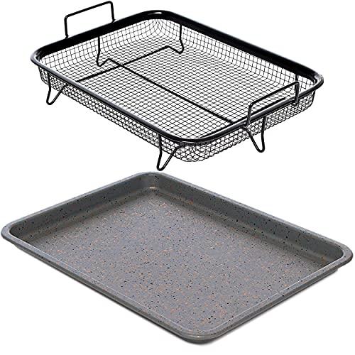 Home Icon Granite Copper Crisper Air Fryer Pan Non-Stick Tray with Crisping Basket 2pc Set