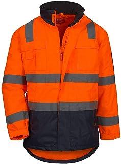 Haodan electronics Tuta Impermeabile Riflettente Raincoat Riflettente ad Alta visibilit/à di Sicurezza Sezione Lungo Fluorescenti Abbigliamento Outdoor di Lavoro con Cappuccio Impermeabile