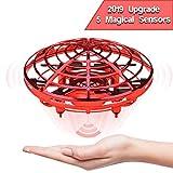 JIAMA Flying Ball, Mini UFO Drone Bola voladora RC Flying Juguetes, Recargable Drone Helicóptero Inducción Infrarroja Bola de Vuelo Sensores Luces Giratorias De 360 °LED Regalos para Niños (Rojo)