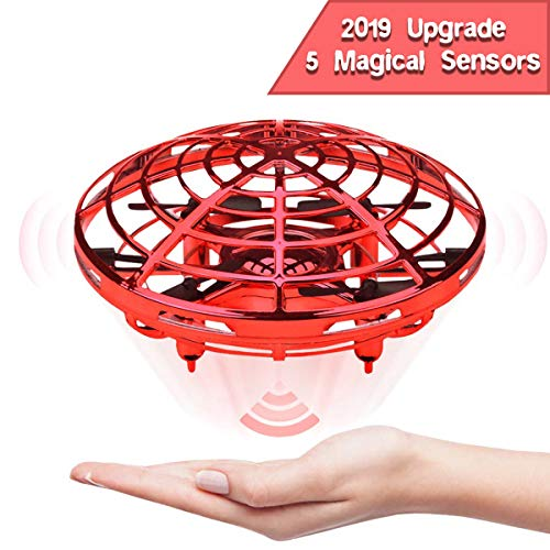 EKOHOME Hand Operated Drones for Kids and Adults, 2019 Upgraded Flying Ball Drone Toy with 5 Infrared Sensor 360°Rotating LED Lighting, Mini Quadcopter Flying Toys for Boys or Girls (Red)