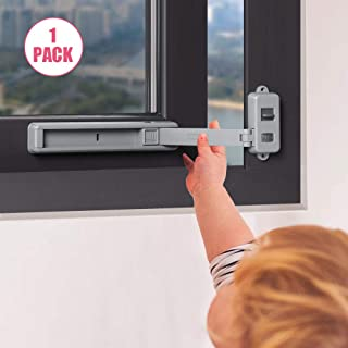 EUDEMON Window Lock Children Protection Window Restrictor Child Safety Window Stopper Falling Prevention Locks Limiter Easy to Install and Use 3M VHB Adhesive no Tools Need or Drill (Grey, 1 Pack)