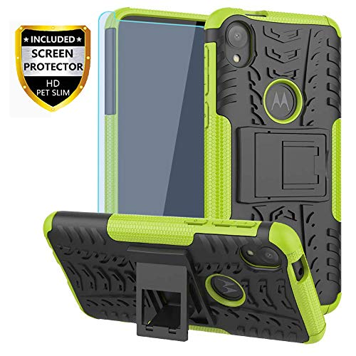 Moto E6 Case, with HD Screen Protector, SKTGSLMY [Shockproof] Tough Rugged Dual Layer Protective Case Hybrid Kickstand Cover for Motorola Moto E6 (Green)