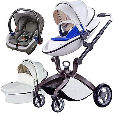 Cochecito de Bebe Hot Mom Cochecito y Sillas de paseo 3 en 1 con silla y el capazo, 2020 estilo de vida F22 - Blanco