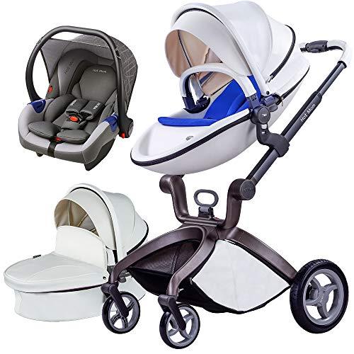 Cochecito de Bebe Hot Mom Cochecito y Sillas de paseo 3 en 1 sistema de viaje con silla y el capazo Asiento de coche, 2020 estilo de vida F22 asiento de carro extra comprable - Blanco