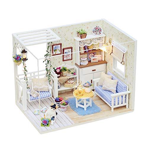 Gobesty Puppenhaus Miniatur, DIY Minipuppen Häuser mit Möbeln Handgefertigte, 3D Holzhaus Zimmer Realistische Puppenhaus Kit mit Led-leuchten für Valentinstag, Kindertag, Weihnachten, Hochzeit