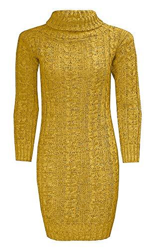 Islander Fashions Damen Chunky Cable Gestrickte Polo-Ausschnitt Midi Jumper Frauen Langarm Party Kleid Senf Medium/Large