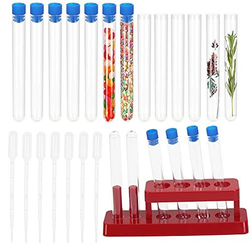 LOPOTIN 60 Pcs Tube à Essai Plastique, Tube à Essai Transparent avec Bouchon et Support 10 Pcs Compte-gouttes pour Expérience Scientifique Laboratoire Bonbons Plante Perle Epice