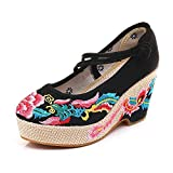 N&W Embroidered Shoes Phoenix Embroidered Women Canvas Chunky Heel Platform Shoes Slash Buckle Ladies Thick Bottom Espadrilles Pumps Old Beijing Embroidered Shoes (Color : Nero Size : 4 UK)