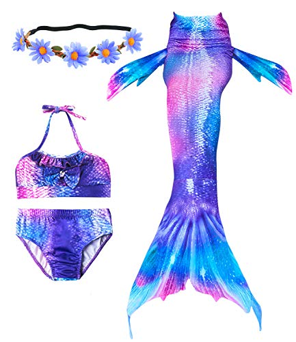 Newland 4 Pcs Girls Swimsuit Mermaid Tails for Swimming Princess Bikini Bathing Suit Set Purple