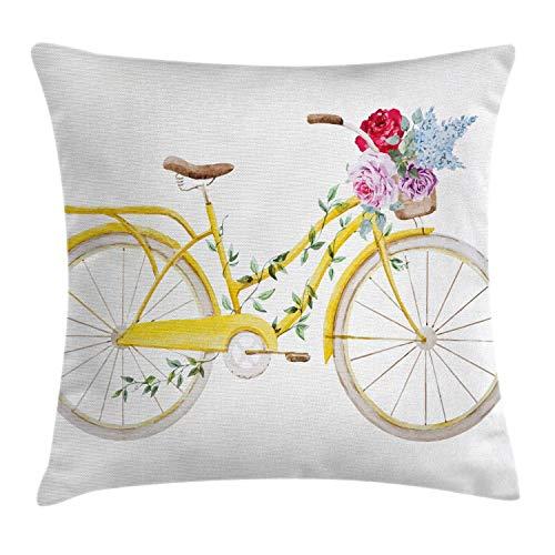Vintage Throw Pillow Cojín, Bicicleta de Efecto Estilo Acuarela con Hojas y Flores en el patrón de Canasta, 45X45 Cm, Blanco Amarillo