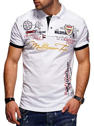behype. Herren Kurzarm Polo-Shirt Bedruckt Maldivian 20-3020 Weiß L