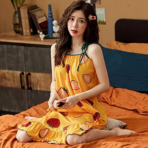 Camisón de Dormir para Mujer, camisón para el hogar Dulce con Tirantes, sin Mangas, Bonito y Elegante, Pijama Femenino de Verano XXL Y2091