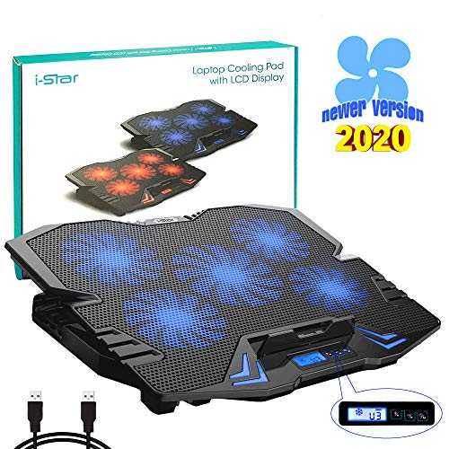 Laptop Cooling Pad, Laptop Cooler Cooling Pad Stand for up to 15.6 inch Laptop with Metal Mesh Surface, 5 Fan 2500RPM Adjustable Strong Wind LED Light, Free Height, 2 USB Port, Blue Fan