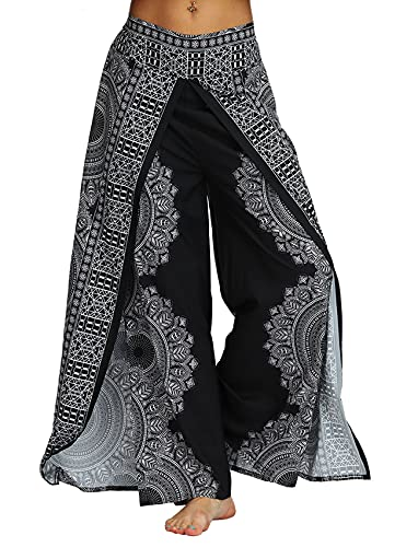 PNKJ Womens Slit Wide Leg Pants-Casual Hippie Bohemian Pilate Beach Boho Baggy Yoga Pants,S/M