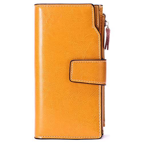 Sendefn Geldbörse für Damen, RFID-blockierend, großes Fassungsvermögen, luxuriöses Echtleder, Geldbörse mit Reißverschlusstasche, Gelb (20cc) (Gelb) - 5156