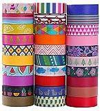 Ninico 30 Rolls Washi Tape Set - 10mm Wide, Colorful Flower Style Design, Decorative Masking Tape...