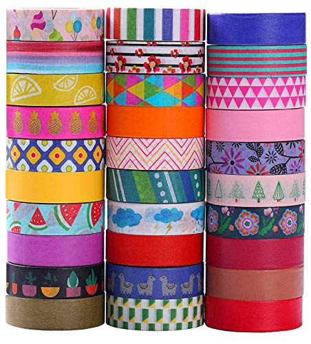 Ninico 30 Rolls Washi Tape Set - 10mm Wide, Colorful Flower Style Design, Decorative Masking Tape for DIY Craft Scrapbooking Gift Wrapping