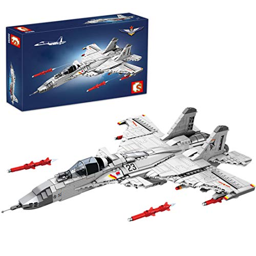 Lommer Technik Flugzeug Bausteine Spielzeug, 1186Pcs J-15 Hubschrauber Militär Modell Kits, Konstruktionsspielzeug Kompatibel mit Lego Technic