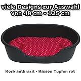 adena Hundekorb 71 x 48 cm anthrazit + Kissen Tupfen rot