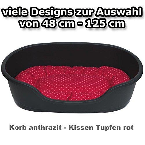 adena Hundekorb 110 x 74 cm anthrazit + Kissen Tupfen rot