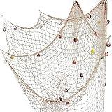 Fangoo 200 cm x 150 cm Red de Pesca con Conchas Playa Decoración temática para Fiesta Hogar Sala de Estar Dormitorio Decoración de Estilo mediterráneo Decoración de Pared (Blanco)