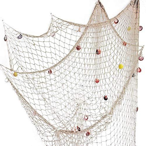 200 cm x 150 cm Filet de pêche avec coquilles Plage Thème Décor pour la Fête Maison Salon Chambre Style Méditerranéen Décor Décoration Murale (Blanc)