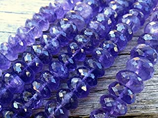Jewel Beads 50% Off Amethyst Beads Faceted Rondelles - semiprecious Gemstones - 9.5mm X 6mm Large 14 inch Strand Code-AUR-69304