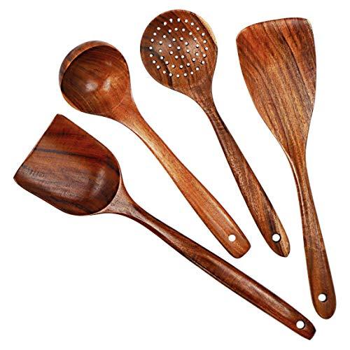 S & C Kitchen - Wooden Cooking Utensils (Natural Teak) SET - 4 PCs - Wooden Spatulas, Wooden Turner, Wooden Strainer, Wooden Soup ladle - Best kitchen wooden cooking utensils - Perfect cooking tools