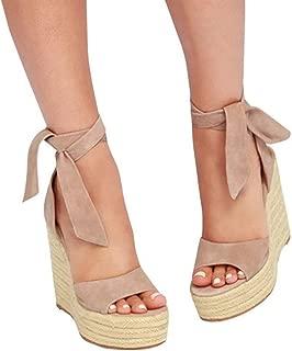 Womens Lace up Platform Wedges Sandals Classic Ankle Strap Shoes