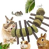 KOBWA Branches d'arbres Pomme Mâcher Bois Naturel Bâtons à mâcher brindilles Dents pour Animaux de broyage Boule de Gazon Naturel Jouets pour Bâtons pour Petits Animaux Lapin Hamster