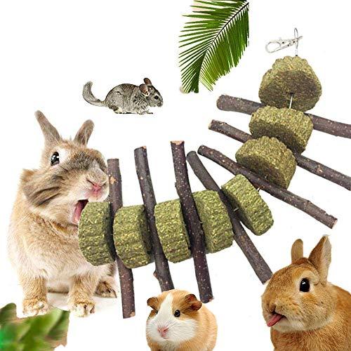 KOBWA Apple Sticks Pet Snacks Kauen Spielzeug, natürliche lustige Gras Behandlung Ball Haustier Katze Essbare Spielzeug Molaren für Kaninchen, Chinchillas, Hamster, Meerschweinchen