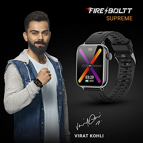"""Fire-Boltt Supreme 1.79"""" Borderless LTPS 368*448 UHD PRO Display with 96% Screen to Body Ratio, 3ATM Waterproof , Spo2, Heart Rate and Blood Pressure Smart Watch (1.79"""" Black)"""