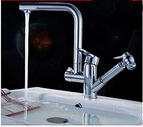Telescopica Waterkraan voor keuken en keuken kraan voor keuken waterkraan wastafel warm en koud geborsteld goud wastafel keukenkraan draaibaar telescopica G