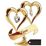 Doble corazón, figura bañada en oro de 24 quilates e incrustada con los auténticos cristales.