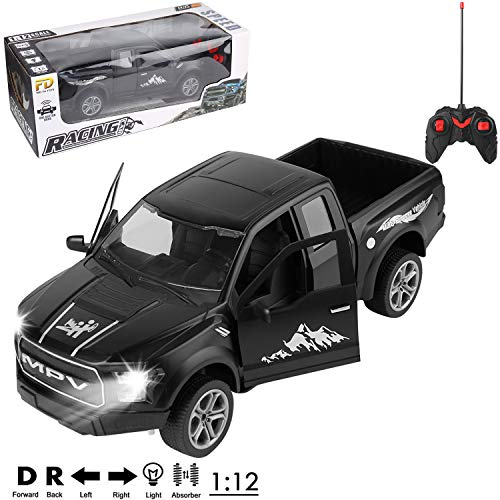 1/12 Scale All Terrain Remote Control Truck Black 4x4 Pickup R/C Toy Car for Adults, Boys, Girls, Kids