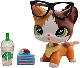 lpsloverqa Judy lps Custom Shorthair Cat Meow Custom Kitty Yellow and Brown Heart Green Eyes with lps Accessories Drinks Cake Kids Gift