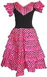 AMINA Vestido de niña para baile flamenco o sevillanas (Rosa volante rosa, 4 años)