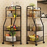 GOLDFAN 4 Tier Storage Rack With Wheels Multi-layer Removable Storage Basket Storage Shelf Large Capacity Metal Trolley for Kitchen Bathroom, Gold