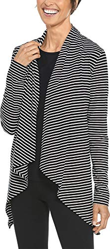 Coolibar UPF 50+ Women's Marietas Sun Wrap - Sun Protective (Small- Fine Black/White Stripe)