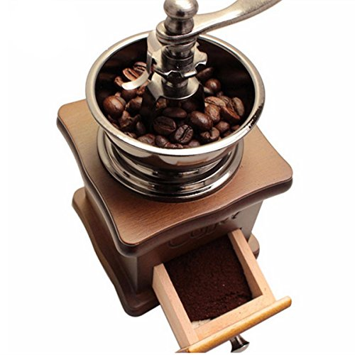 Beho レトロなステンレス多機能手動コーヒー豆グラインダー木製ナットミル手研削ツール