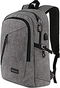 Laptop Backpack, Business Water Resistant Laptops Backpack Gift for Men Women with Lock and USB Charging Port, Mancro Anti Theft College School Bookbag, Travel Computer Bag for 15.6 Inch Laptops,Grey
