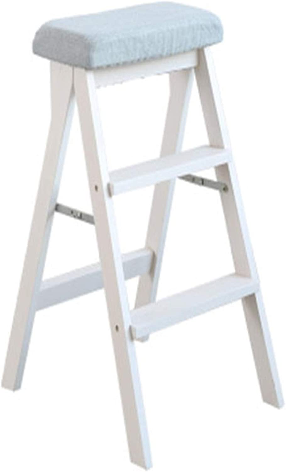 Stool Bar Stool Solid Wood Ladder Home Kitchen Fixed Chair Table Folding Chair White +