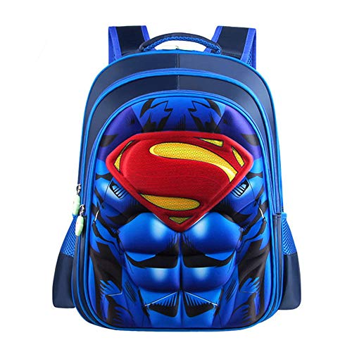 Mochila Infantil Yuan Ou Niño Superman Batman Spider-Man Capitán América Children's Kindergarten Schoolbag 36 * 30 * 15cm Azul Superman M