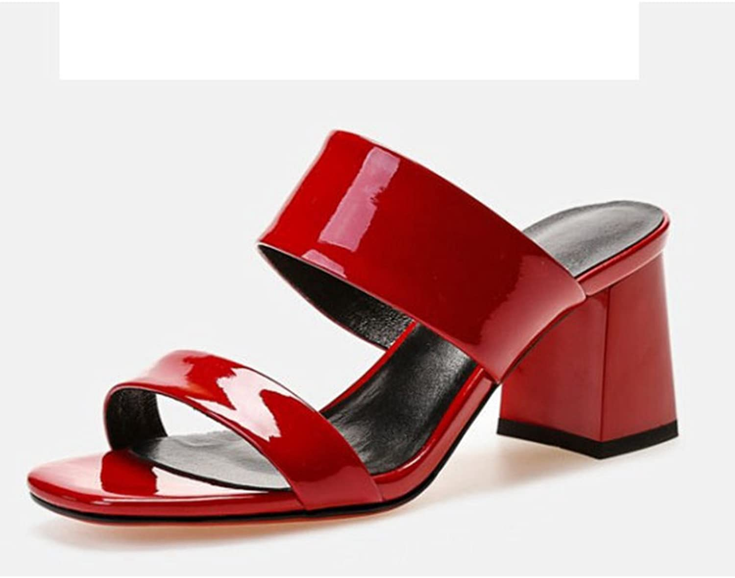 T-JULY Womens Fashion Slide Sandals High Heel Leather Slippers Open Toe Summer shoes