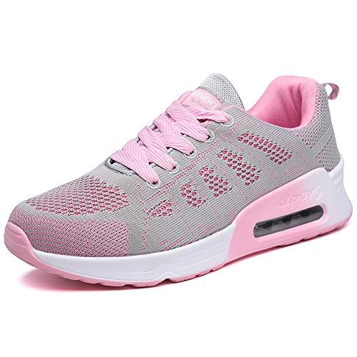 Damen Turnschuhe Luftkissen Hallenschuhe Atmungsaktiv Outdoor Fitnessschuhe Laufschuhe Schnürsenkel Frauen Sportschuhe Flach Pink 37 EU