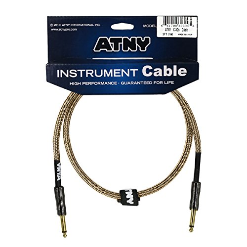 ATNY Braided Electric Guitar Cable – Professional Grade Musical Instrument Amplifier Cord with Nickel-Plated Dual Straight Plugs and Champagne Gold Tweed Jacket (3 Feet, Champagne Gold)